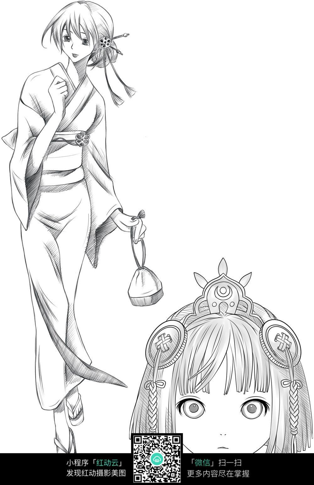 漫画插画 人物卡通 优雅的和服女人  请您分享: 素材描述:红动网提供