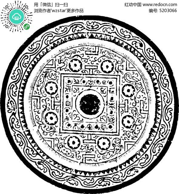 圆形古典雕花花纹图片