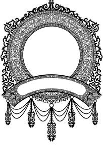 圆形华丽相框花纹