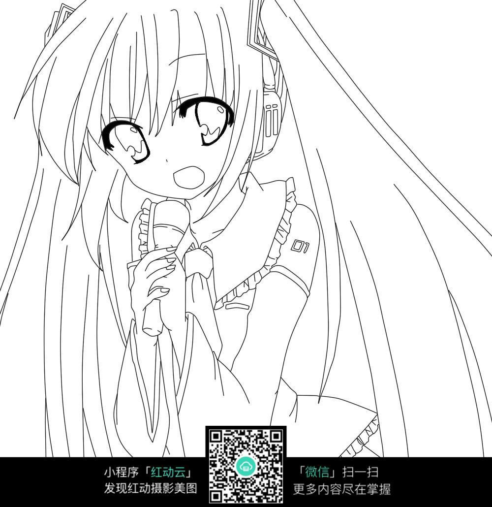 在唱歌的女孩插画图片免费下载 红动网