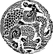 斑点兽纹和水纹构成的圆形青铜器图案