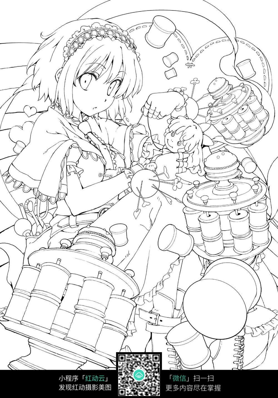 免费素材 图片素材 漫画插画 人物卡通 抱着玩偶的女生线稿图片素材