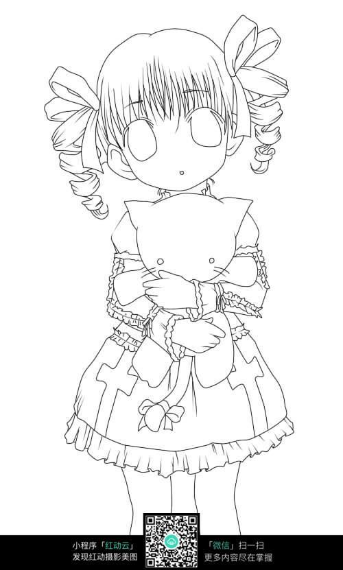 小女孩 呆萌 小巧 娃娃 可爱 手绘 线稿 插画      卡通人物 漫画人物