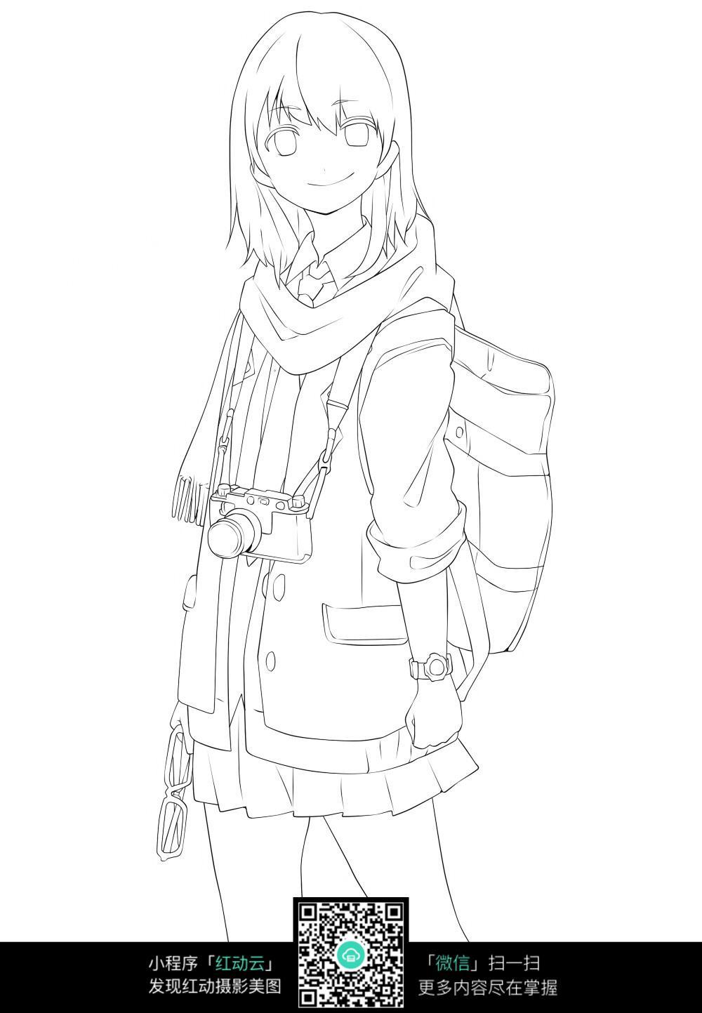 人物线绘图 人物素描图 少女 女生 女孩 卡通人物 背包 相机  漫画