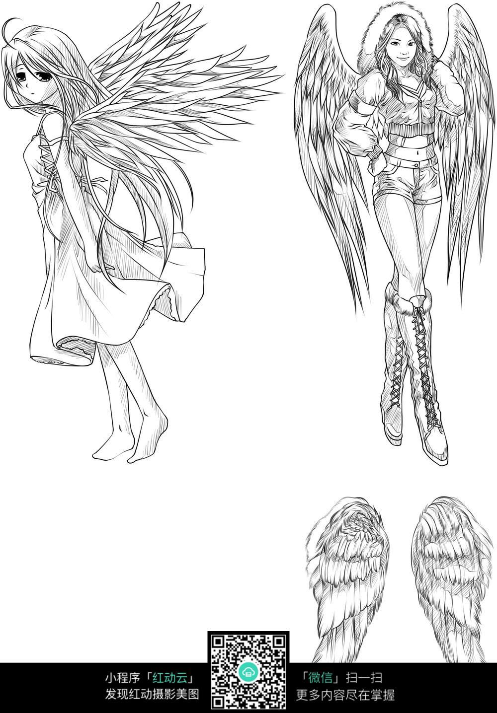 翅膀漫画女生图片免费下载(编号5220894)_红动网