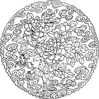 传统牡丹花纹样