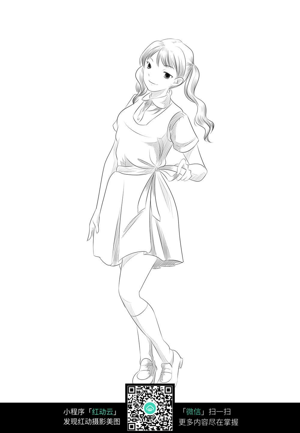 穿着短裙的长发少女_人物卡通图片_红动手机版
