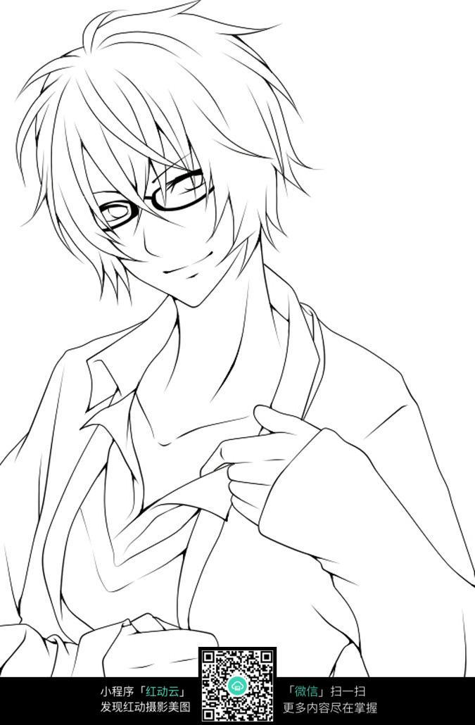 戴眼镜的男孩图片