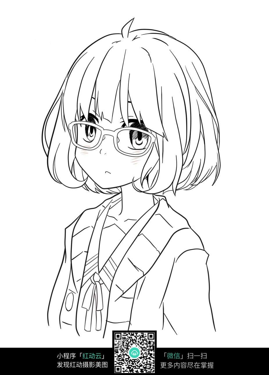 戴眼镜短发女孩图片