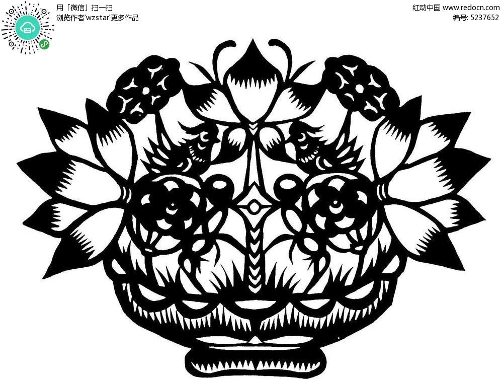 手绘花盆图案黑色