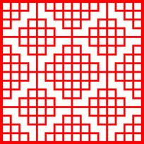 格子方形图案剪纸花纹参考图