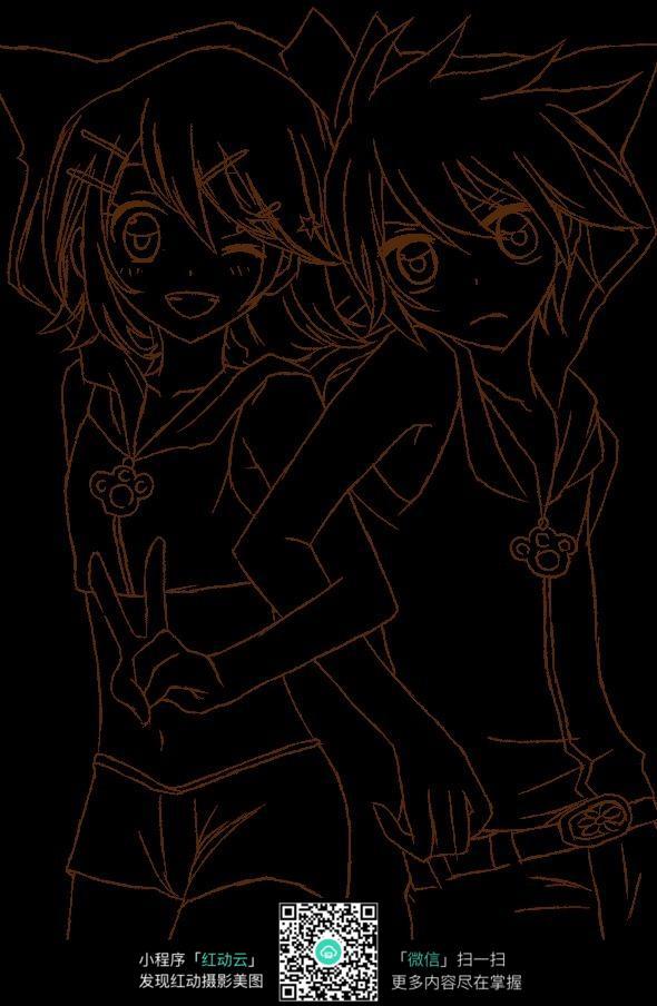 黑色底图上的少女手绘