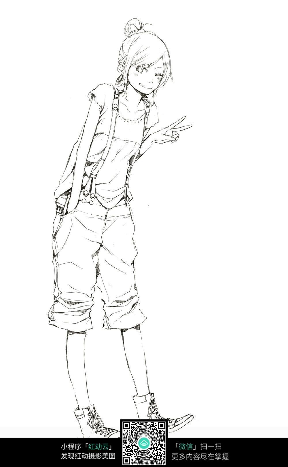 时尚女孩卡通手绘线稿