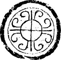 简约线条卷曲对称镂空圆纹