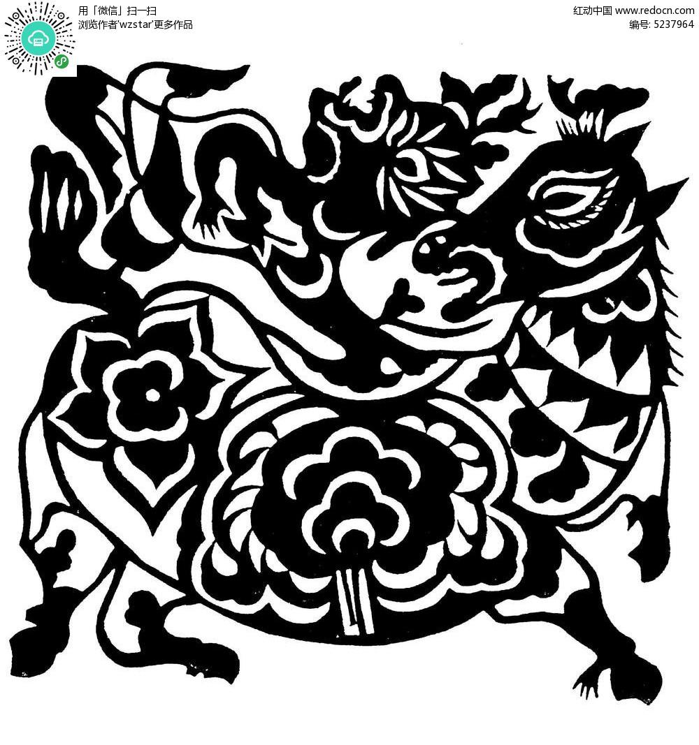 剪纸马花纹图案AI素材免费下载 编号5237964 红动网图片
