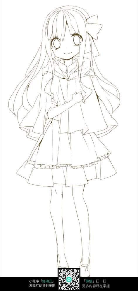 卡通漫画少女短裙线稿