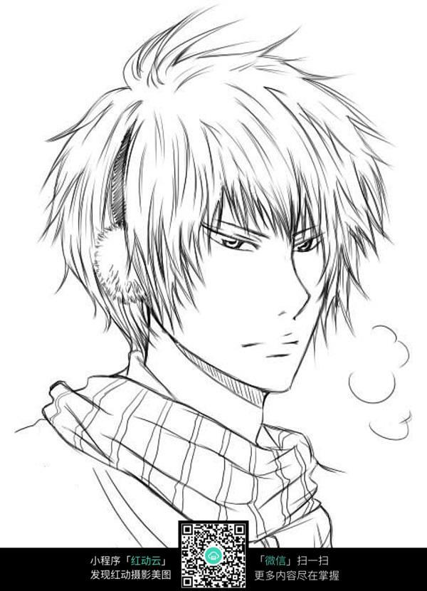 卡通男生侧面肖像手绘稿_人物卡通图片