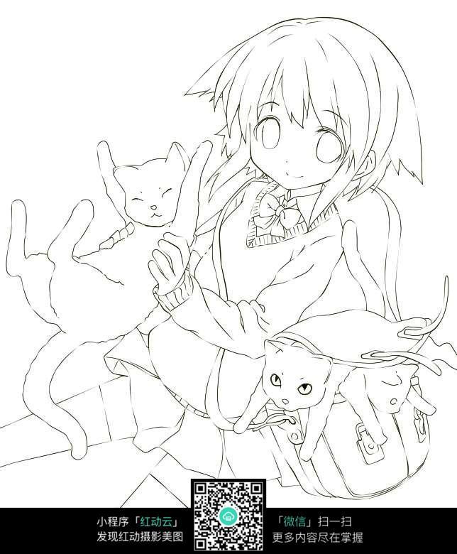 可爱少女动漫线稿_人物卡通图片