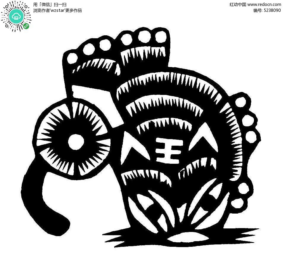 老虎可爱剪纸图案