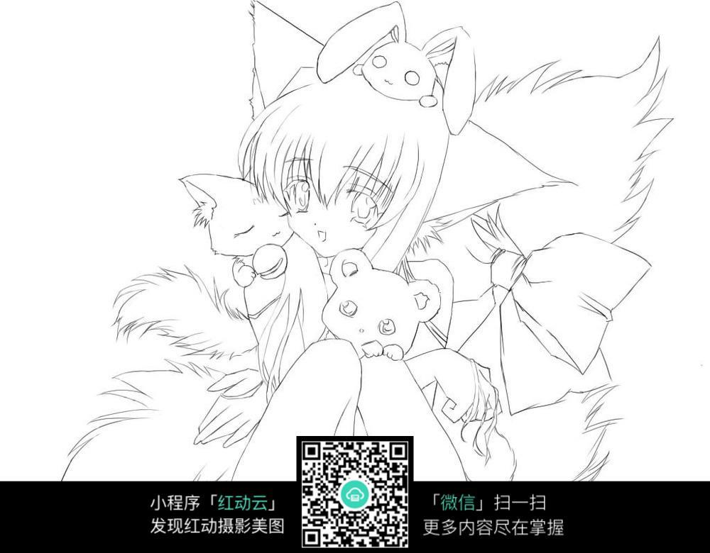 免费素材 图片素材 漫画插画 人物卡通 猫耳少女