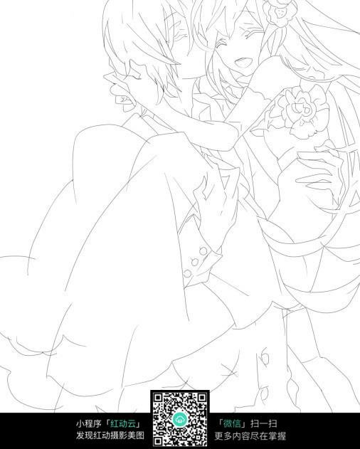 男女亲吻公主抱线稿图片