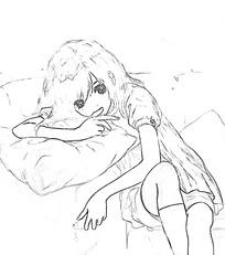 沙发上流泪的女孩