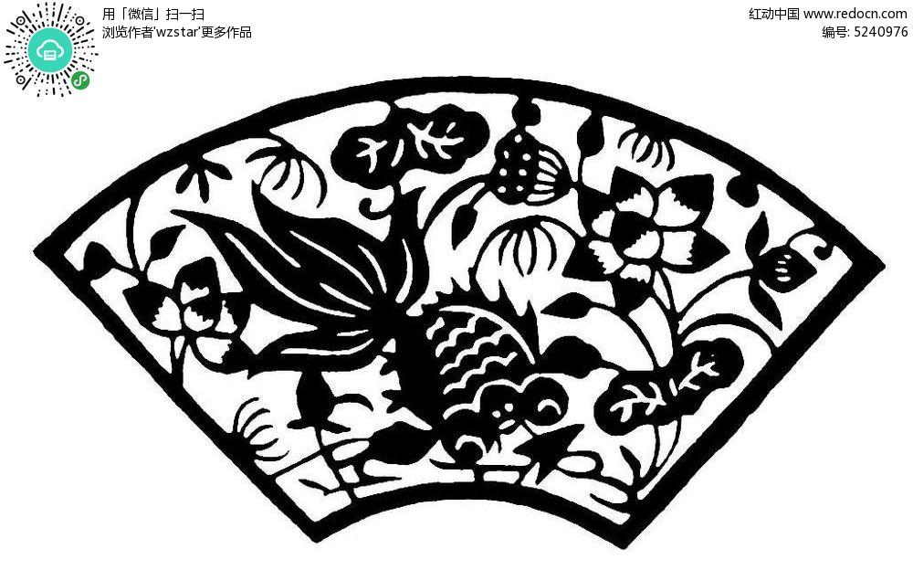扇形卷轴手绘图