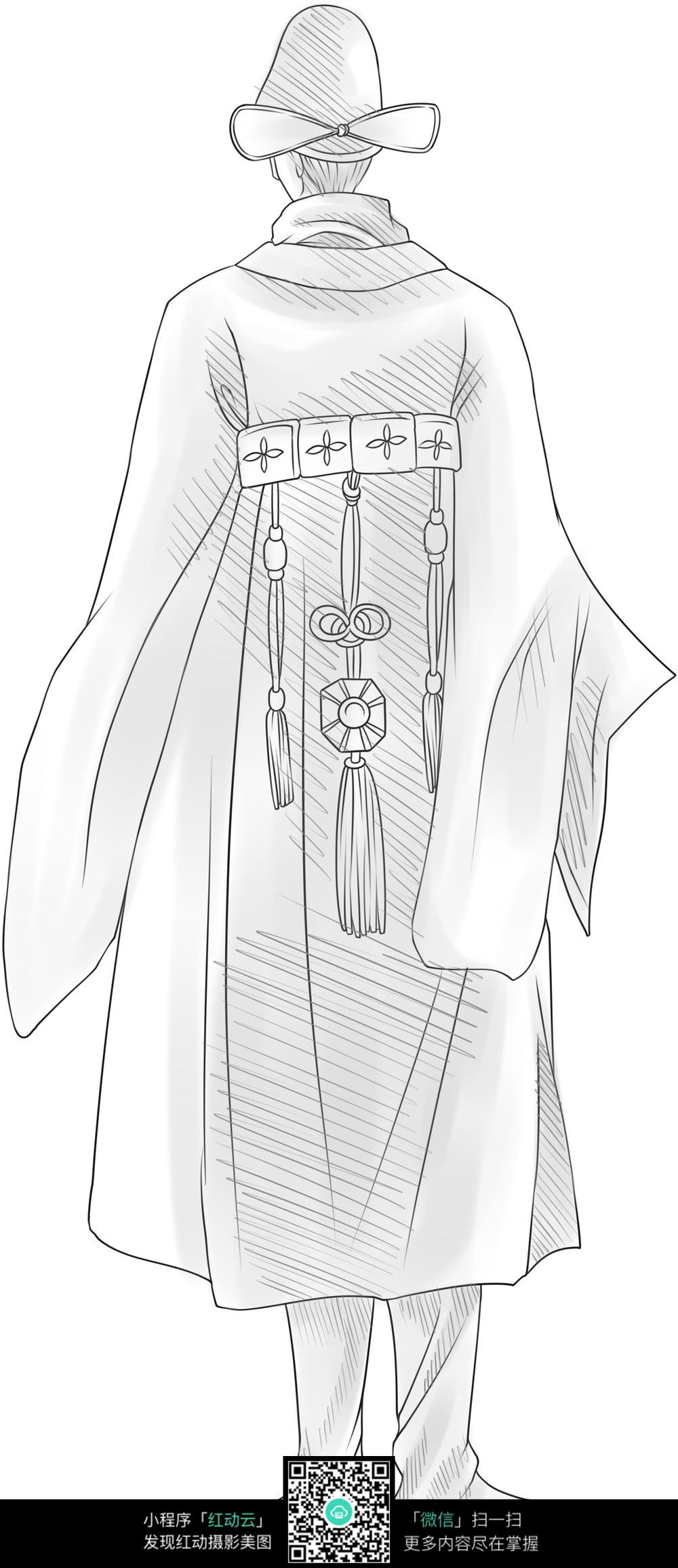 身着古代官服的男子的背影