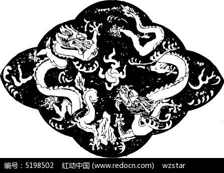 双龙和火球构成的斑驳的图案ai素材免费下载(编号)_红