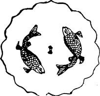 双鱼纹曲线边几何形构成的圆形古器线描图