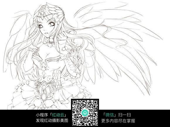 漫画 女人 性感 华丽 天使 翅膀 圣洁 手绘 线稿 插画      卡通人物