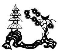 亭子树木剪纸图案