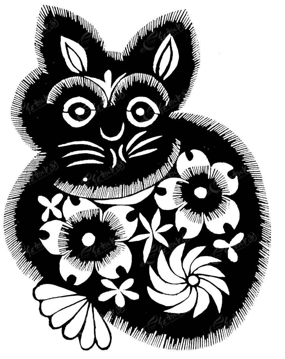 兔子镂空黑白花纹图片