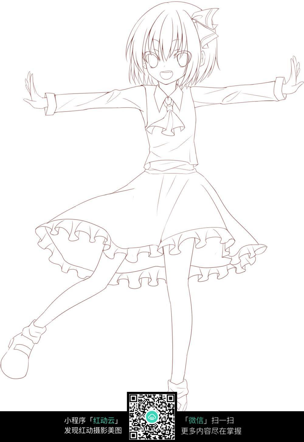 女生跳舞手绘图