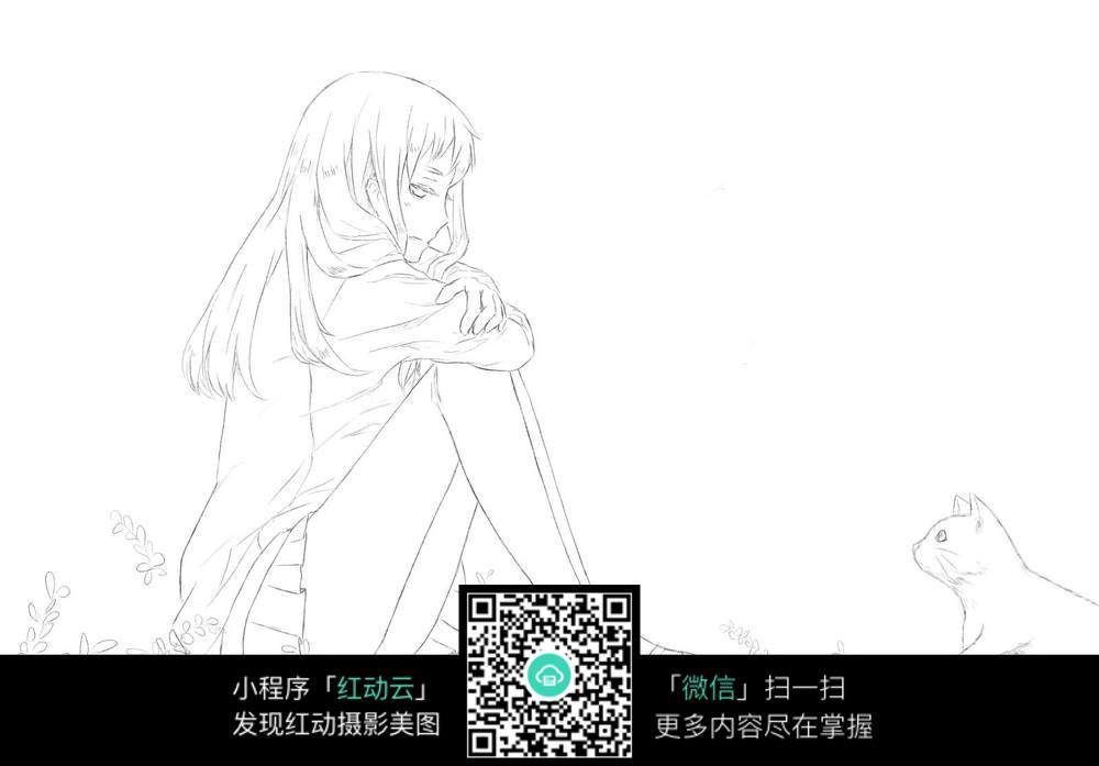 忧郁少女动漫线稿_人物卡通图片