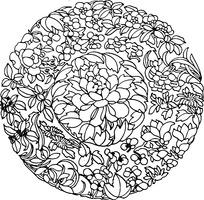 圆形牡丹花纹样