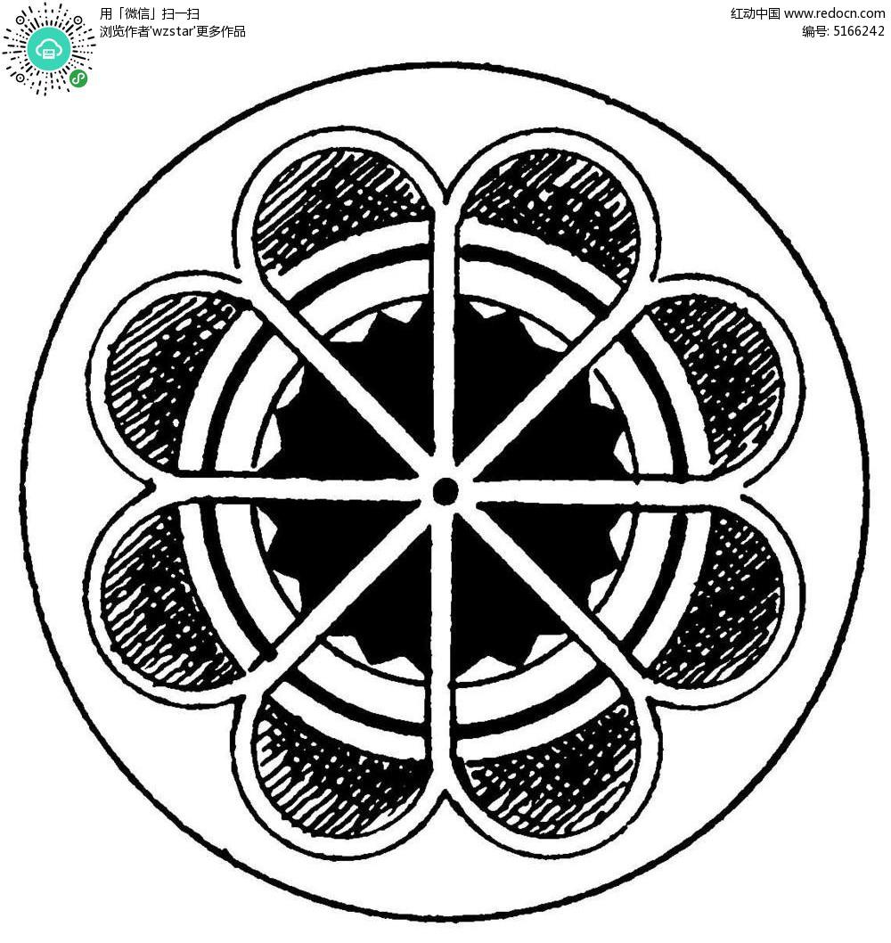 圆形太阳花花纹矢量素材