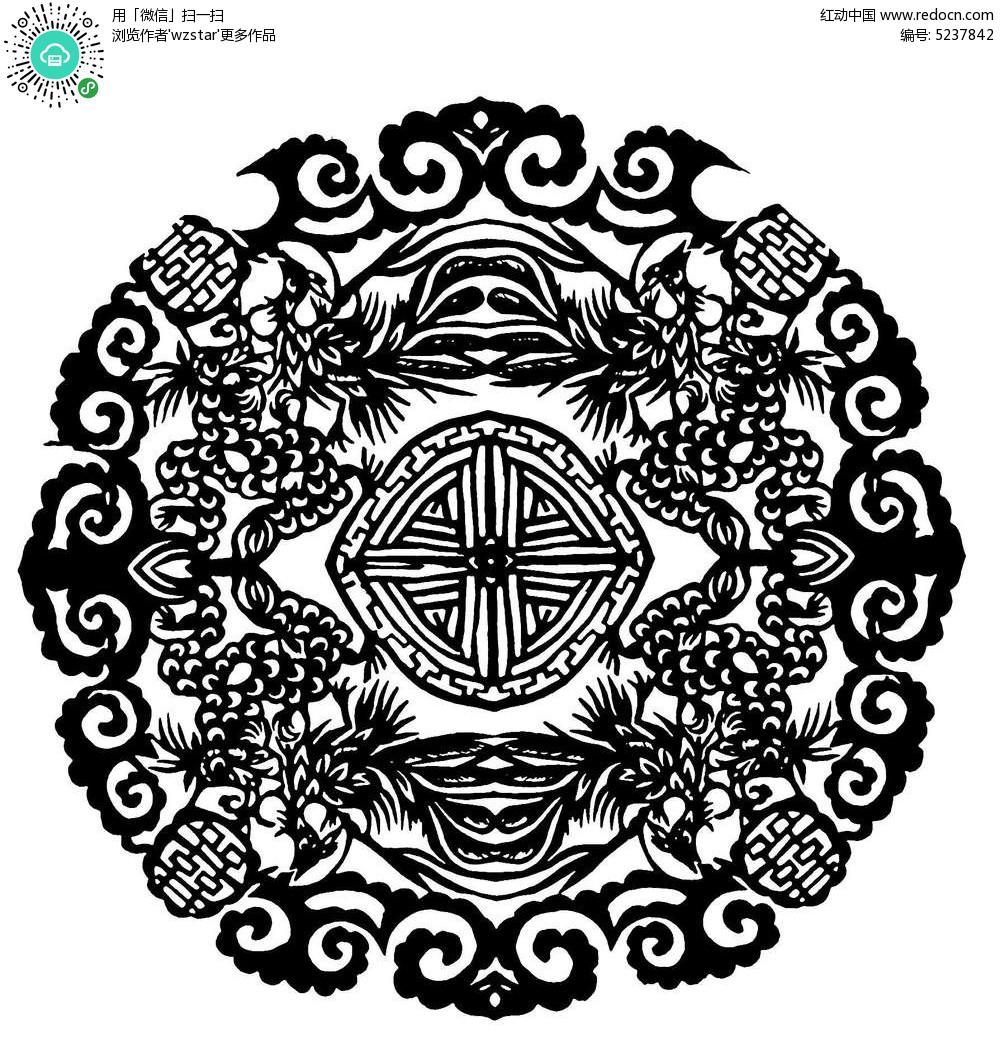 圆形图案窗花剪纸矢量图ai免费下载_传统工艺品素材