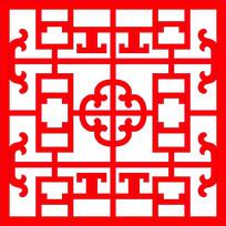 中式镂空窗框对称图案
