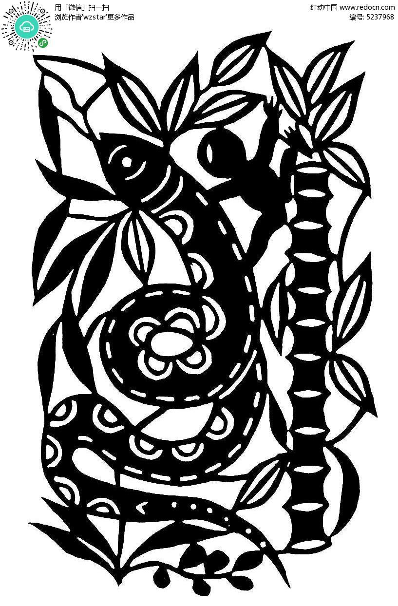 竹子和蛇剪纸