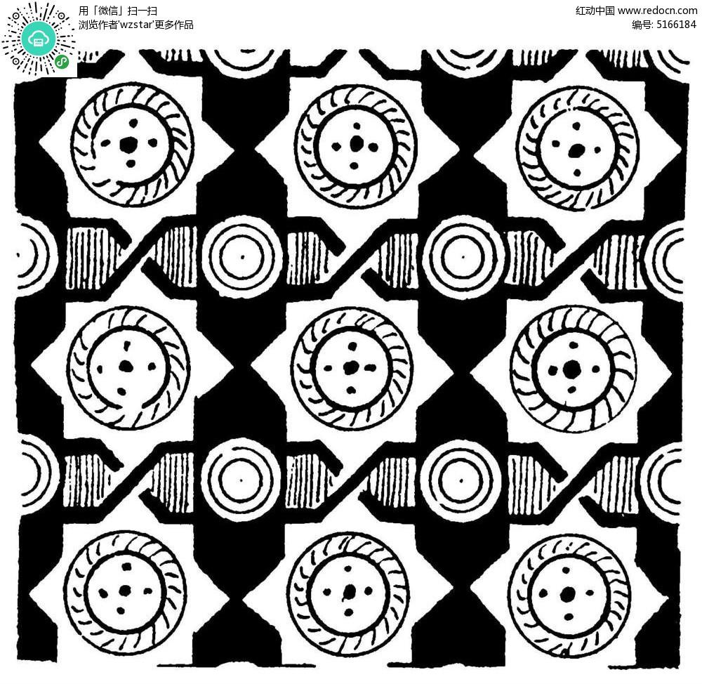 简单四方连续纹样图纸-八角图形