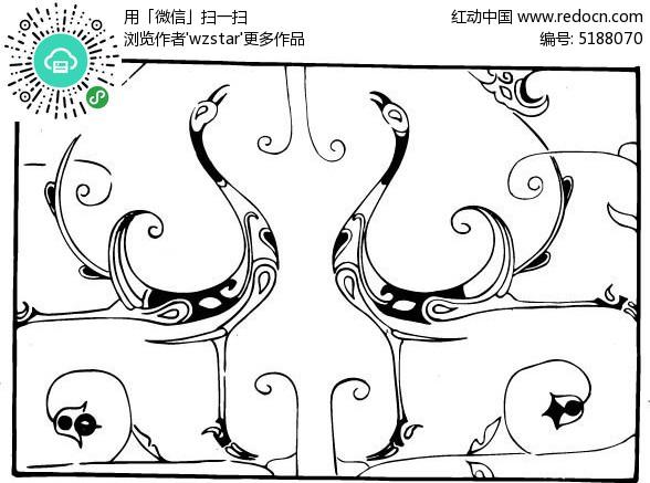 天鹅手绘卡通图片
