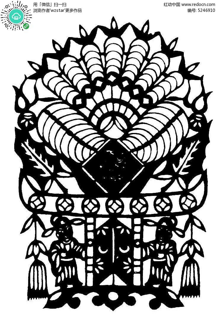 传统工艺古典窗花剪纸图案