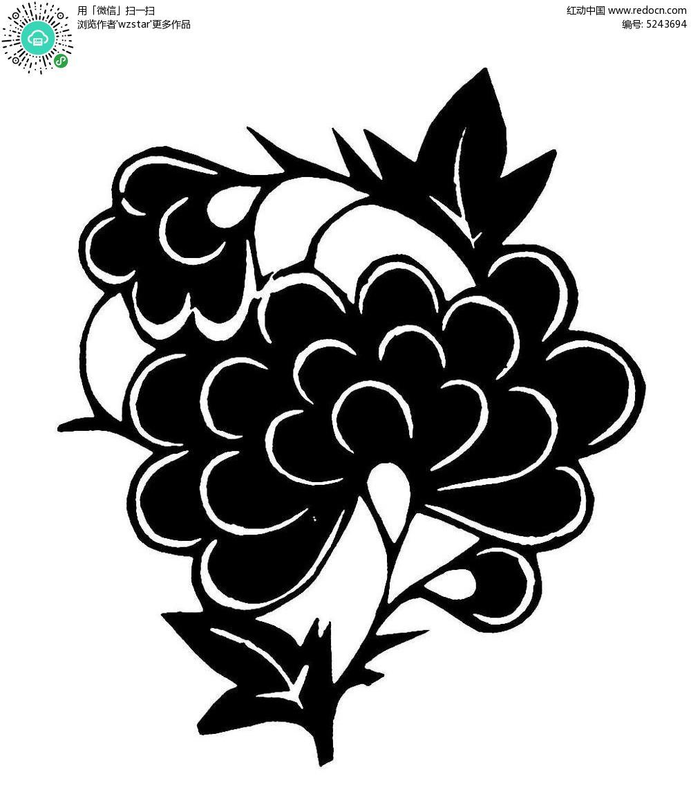 淡雅花朵剪纸图片