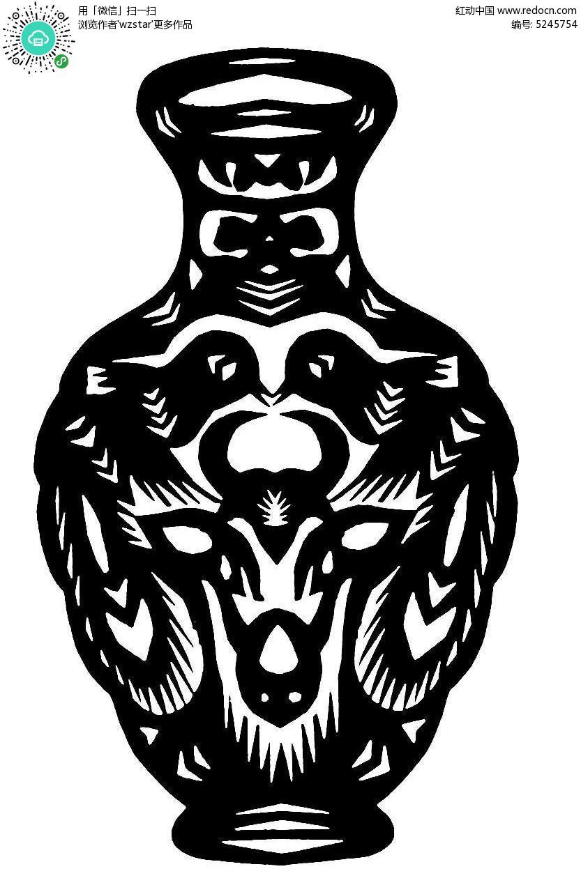 对称小鸟花瓶窗花剪纸