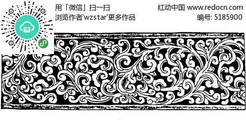 复古缠绕花纹雕刻矢量素材图片