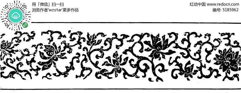 复古黑白花纹雕刻矢量素材图片