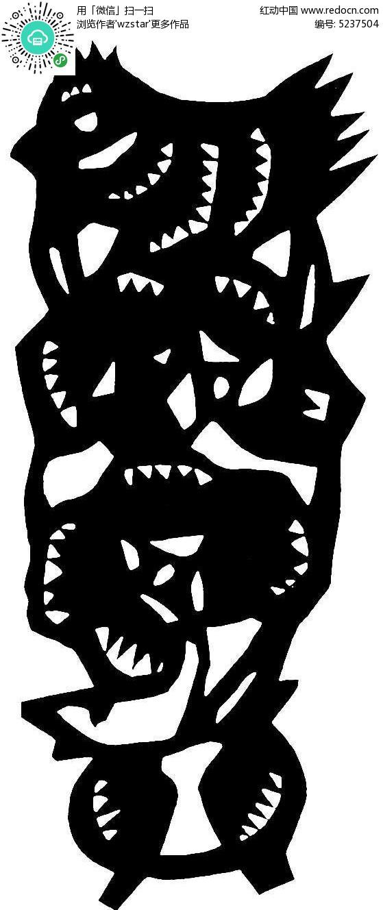 黑白动物剪纸图纹素材
