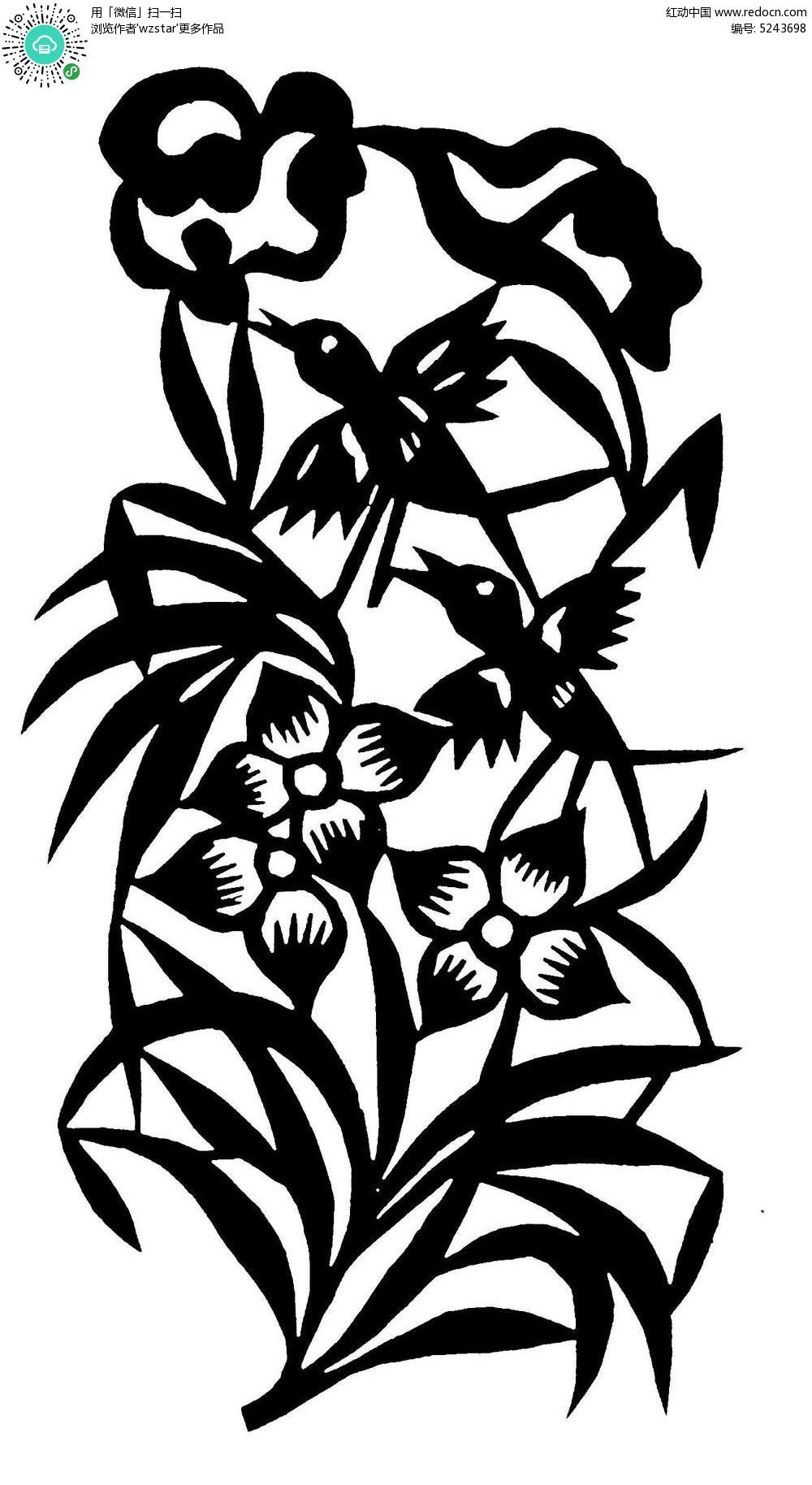 花朵叶子小鸟图案图片