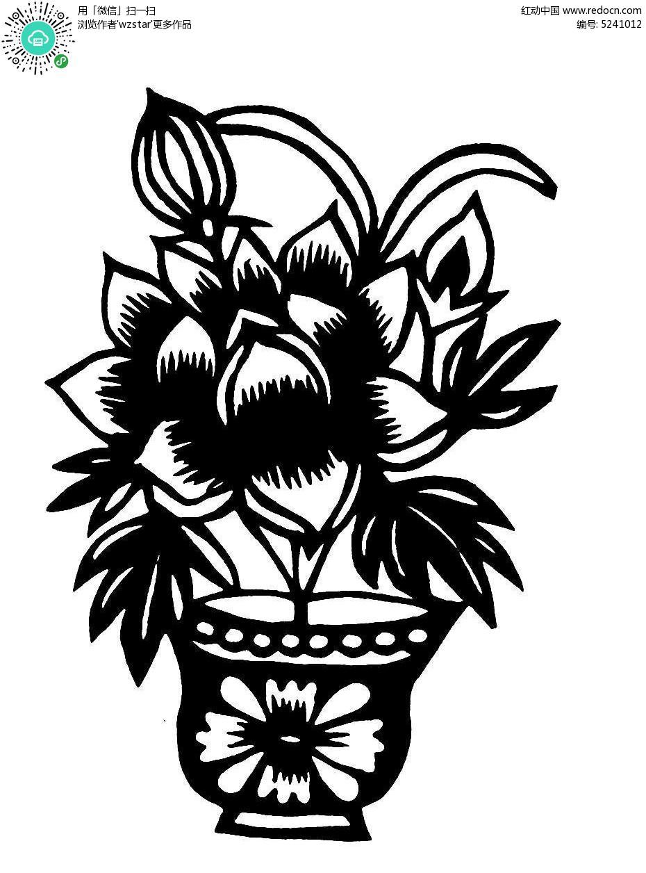 花盆里的花黑白图案AI素材免费下载 编号5241012 红动网